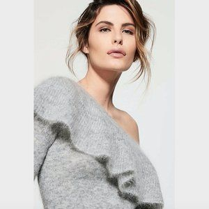 Witchery Grey Frill Kid Mohair Knit Jumper Size M